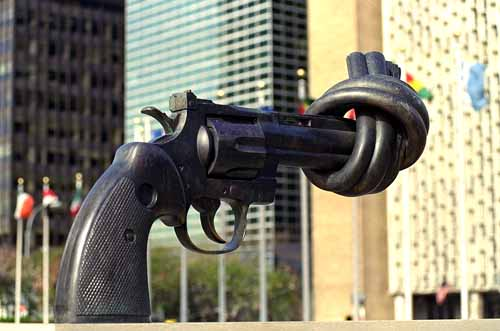 The anti-gun statue at UN Headquarters in New York City, USA.